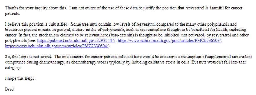 顧小培建議癌症病人不應進食果仁,美國威斯康辛大學食物科學系助理教授Bradley Bolling以電郵回復指,有關邏輯並不合理。
